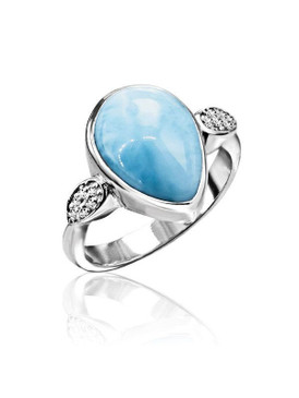 MarahLago Bliss Pear Larimar Ring - 3x4