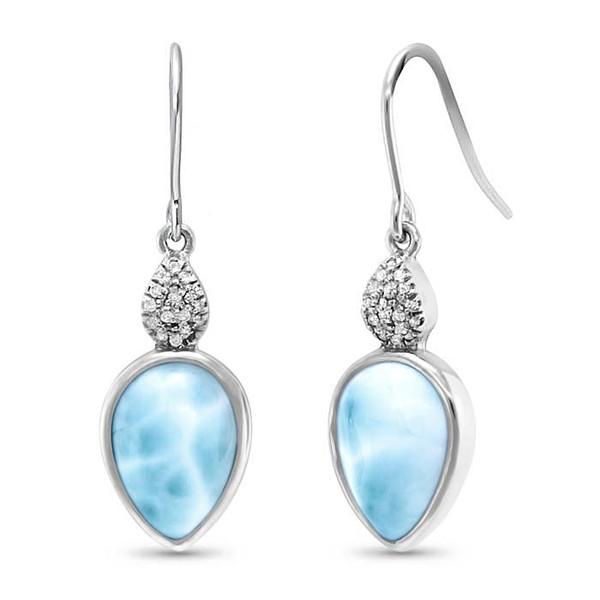 MarahLago Bliss Pear Larimar Earrings with White Sapphire