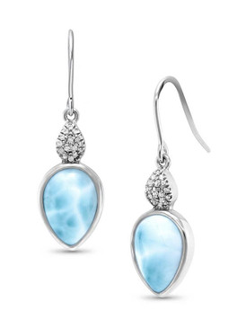 MarahLago Bliss Pear Larimar Earrings with White Sapphire