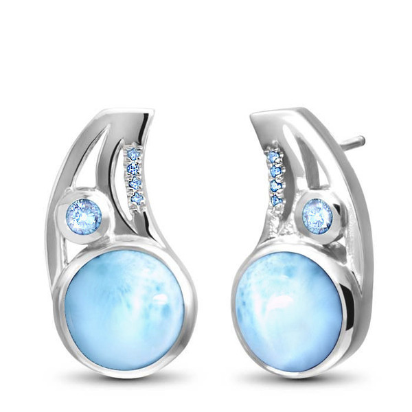 MarahLago Ellesmere Larimar Earrings with Blue Topaz
