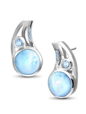 MarahLago Ellesmere Collection Larimar Earrings with Blue Topaz - 3x4