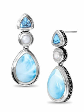 MarahLago Azure Pear Collection Larimar Earrings with Blue Topaz & Pearl