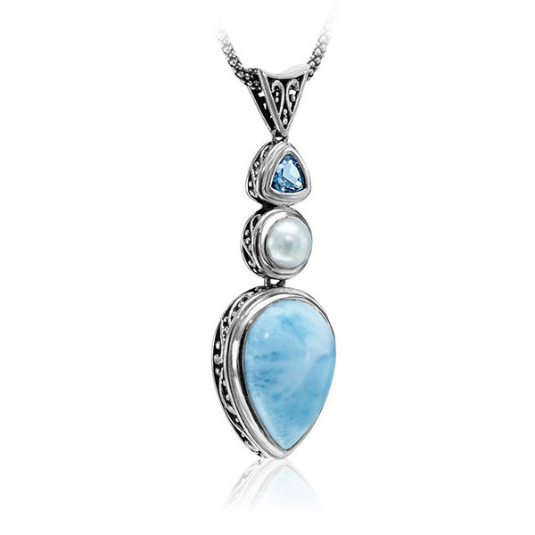 MarahLago Azure Pear Larimar Necklace with Blue Topaz & Pearl