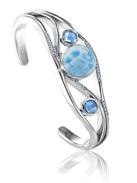 MarahLago Ellesmere Collection Larimar Cuff Bracelet with Blue Topaz