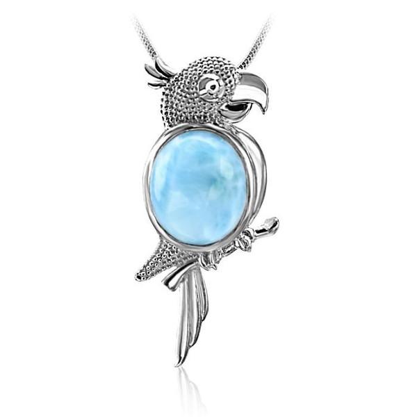 MarahLago Wild Life Larimar Parrot Pendant/Necklace