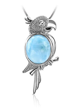 MarahLago Wild Life Collection Larimar Parrot Pendant/Necklace