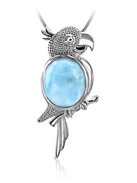 MarahLago Wild Life Collection Larimar Parrot Pendant/Necklace