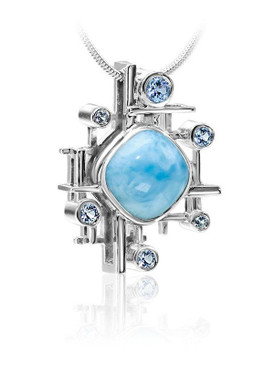 MarahLago Pixel Collection Larimar Pendant/Necklace with Blue Spinel