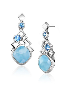 MarahLago Pixel Collection Larimar Earrings with Blue Spinel