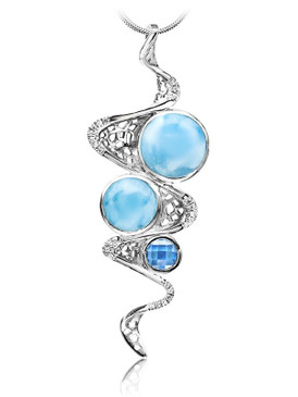 MarahLago Versailles Collection Larimar Pendant/Necklace with Blue Spinel