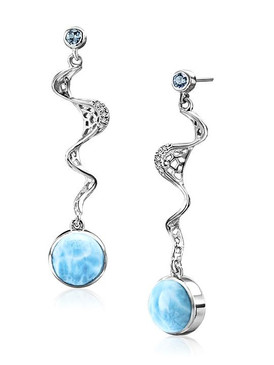 MarahLago Versailles Collection Larimar Earrings with Blue Spinel