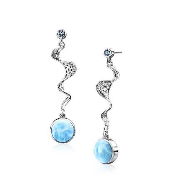 MarahLago Versailles Larimar Earrings with Blue Spinel