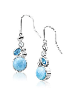 MarahLago Victoria Collection Larimar Earrings with Blue Spinel