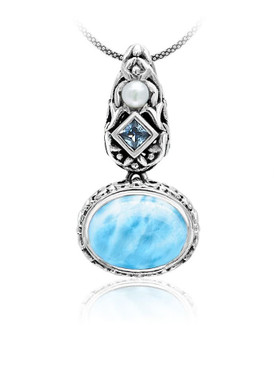 MarahLago Messina Petite Larimar Necklace with Blue Topaz & Pearl