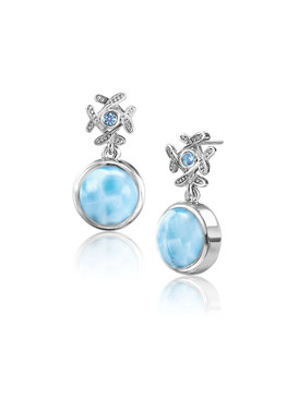 MarahLago Sakura Collection Larimar Earrings with Blue Topaz