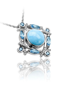 MarahLago Sakura Collection Larimar Pendant / Necklace with Blue Topaz