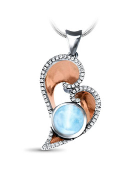 MarahLago Celeste Heart Larimar Necklace with White Sapphires & Rose Gold