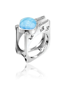 MarahLago Chari Larimar Ring with White Sapphire
