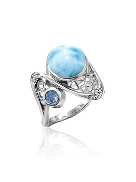 MarahLago Versailles Collection Larimar Ring with White Sapphire & Blue Spinel