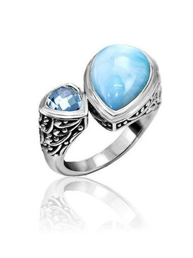 MarahLago Azure Pear Larimar Ring - 3x4