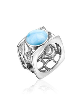 MarahLago Zara Collection Larimar Ring with White Sapphire