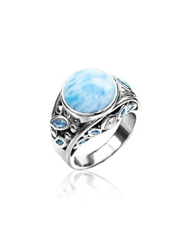 MarahLago Victoria Collection Larimar Ring with Blue Spinel & Pearl