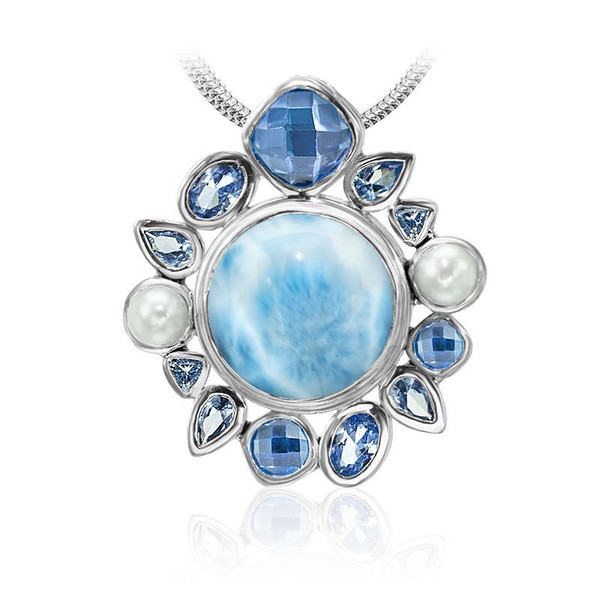 MarahLago Olympia Larimar Pendant/Necklace with Blue Spinel