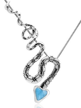 MarahLago Wildlife Collection Snake Larimar Necklace