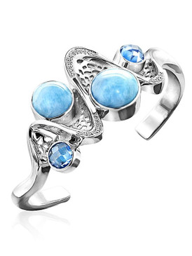 MarahLago Versailles Larimar Bracelet with White Sapphire & Blue Spinel