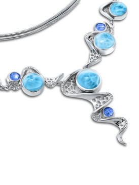 MarahLago Versailles Collection Large Larimar Necklace with Blue Spinel