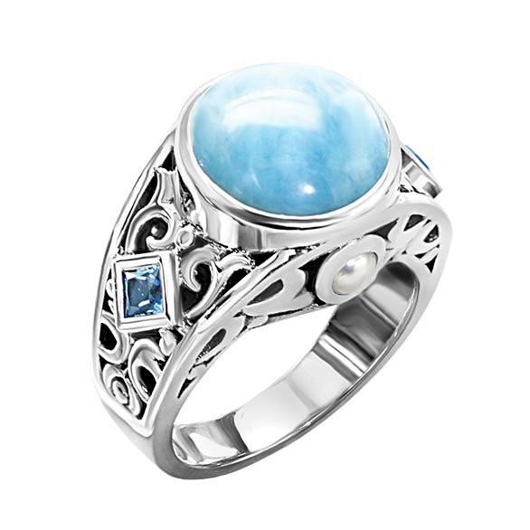 MarahLago Oceana Larimar Ring with Blue Topaz & Pearl (New Design!)