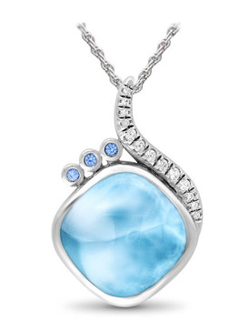 MarahLago Aurora Collection Larimar Pendant / Necklace with White Sapphires and Blue Spinel
