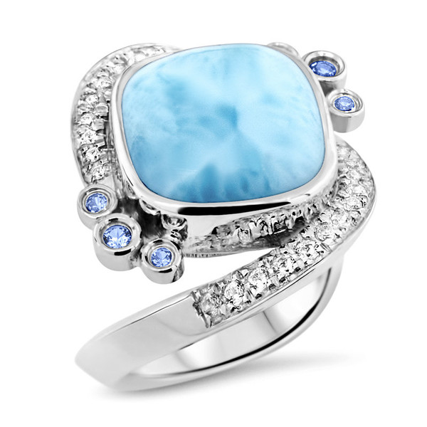 MarahLago Aurora Collection Larimar Ring with White Sapphires and Blue Spinel