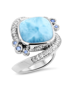 MarahLago Aurora Collection Larimar Ring with White Sapphires and Blue Spinel - 3x4