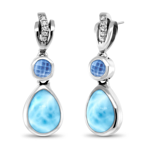 MarahLago Ariel Larimar Earrings with White Sapphires and Blue Spinel