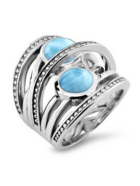 MarahLago Indigo Collection Larimar Ring - 3x4