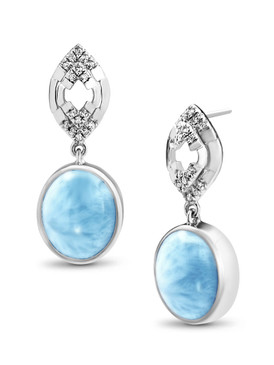 MarahLago Ritz Collection Larimar Earrings with White Sapphires - 3x4