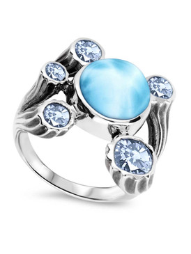 MarahLago Odessa Collection Larimar Ring with White Sapphires and Blue Spinel