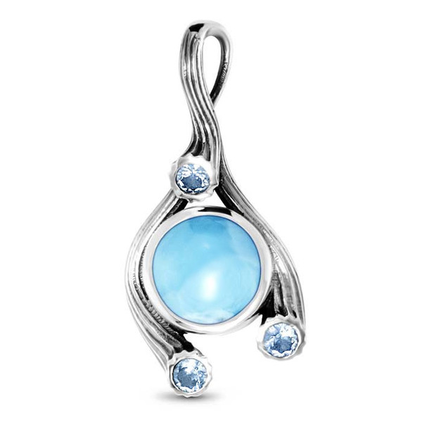 MarahLago Odessa Collection Larimar Pendant / Necklace with White Sapphires and Blue Spinel