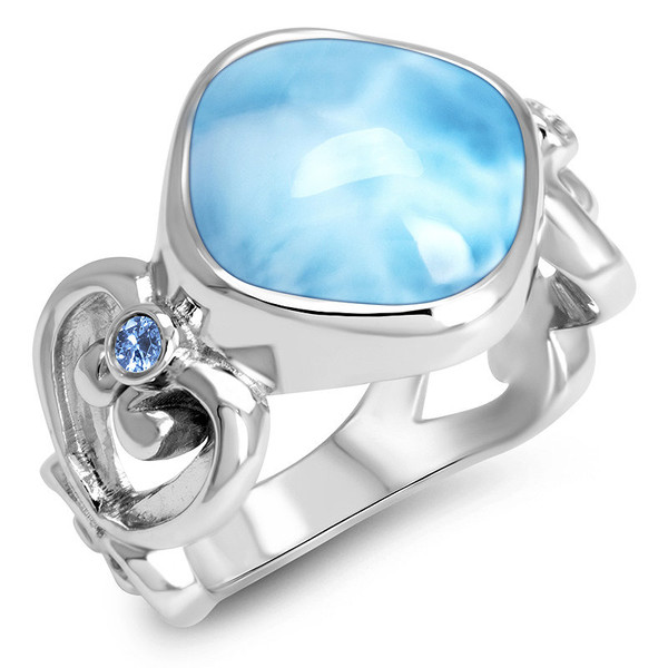 MarahLago Harmony Collection Larimar Ring with Blue Spinel
