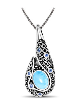 MarahLago Imani Collection Larimar Pendant / Necklace with Blue Spinel