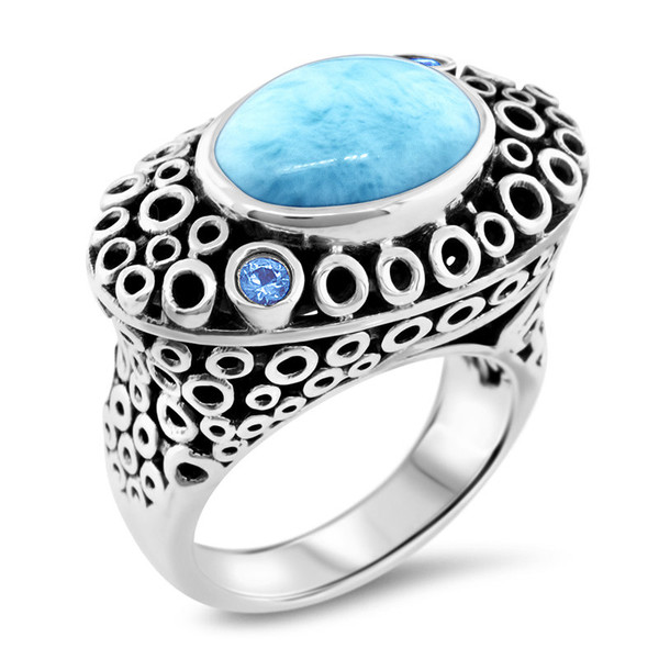 MarahLago Imani Collection Larimar Ring with Blue Spinel