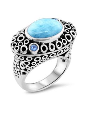 MarahLago Imani Collection Larimar Ring with Blue Spinel - 3x4