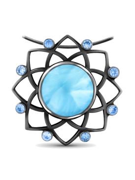 MarahLago Croix Larimar Necklace set in Black Rhodium with Blue Spinel - 3x4