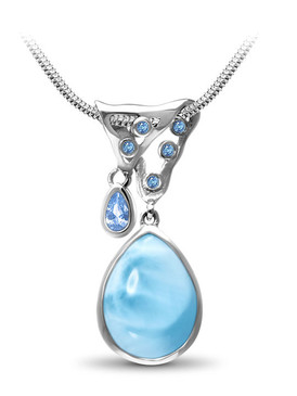 MarahLago Cassius Larimar Pendant / Necklace with Blue Spinel - 3x4