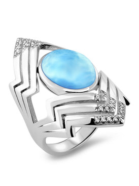 MarahLago Ritz Collection Larimar Ring with White Sapphire - 3x4