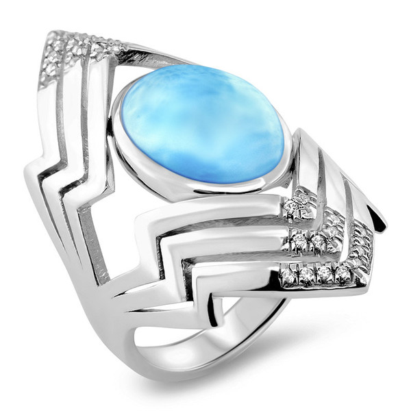 MarahLago Ritz Collection Larimar Ring with White Sapphire