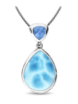 MarahLago Ilona Collection Larimar Pendant / Necklace with Blue Spinel