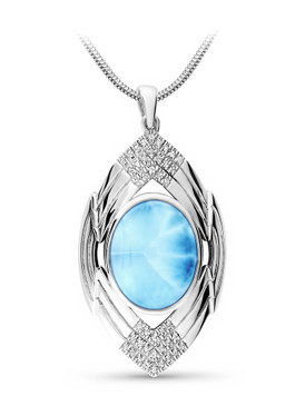 MarahLago Ritz Collection Larimar Necklace with White Sapphire