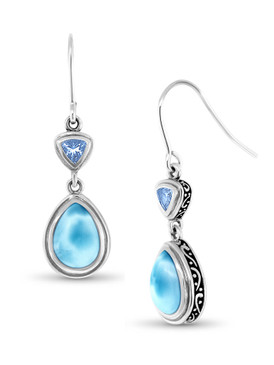 MarahLago Ilona Collection Larimar Earrings with Blue Spinel